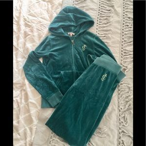 Emerald Green Velour Juicy Couture Tracksuit S